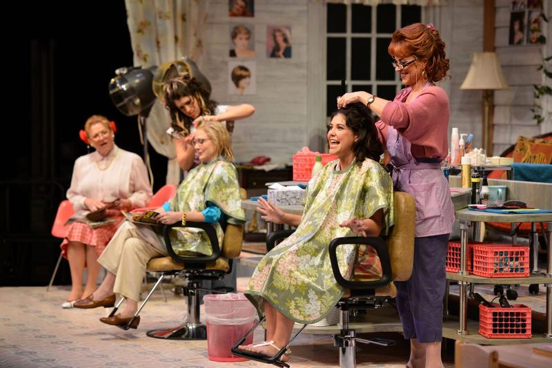 Photo of Becky Ann Baker (from left), Sarah Stiles, Beth Broderick, Zoe Winters, and Deirdre Lovejoy in the Alliance Theatre's 2014/15 production of Steel Magnolias.