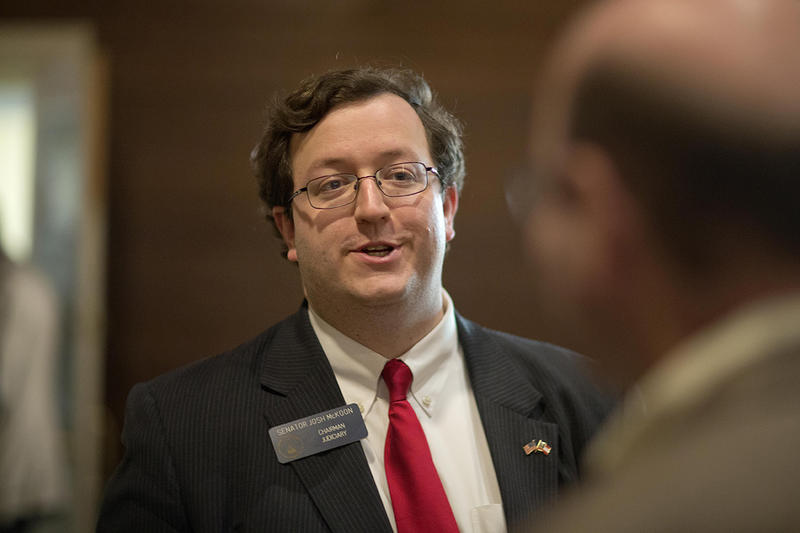 State Senator Josh McKoon talks with supporters at the Wild Hog Dinner in Atlanta.