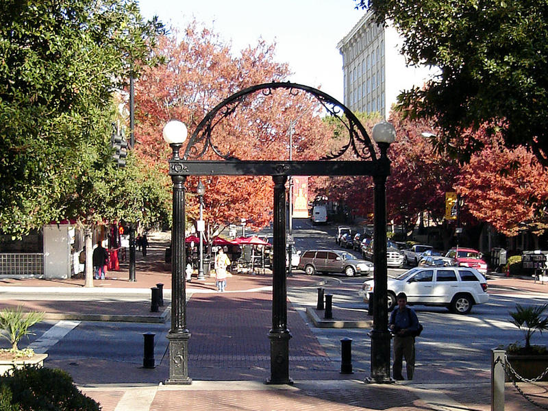 University of Georgia arch, looking to Downtown Athens