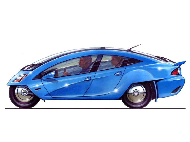 A DeltaWings electric car concept drawing.