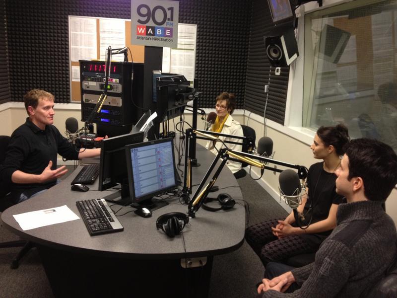John Lemley in studio with Fiona Fairrie, Sarah Lane, and Arron Scott