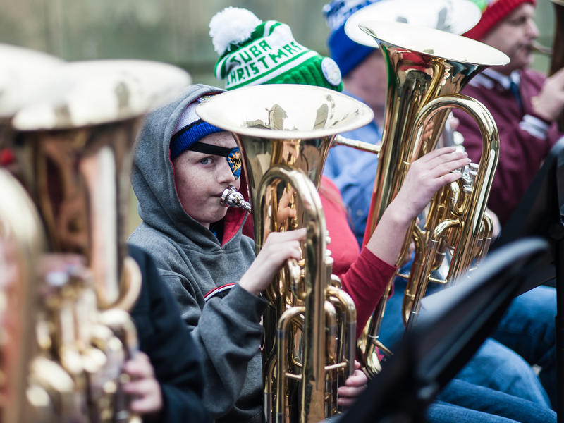 Stephannie Stokes sends an audio postcard from a hundreds-strong musical gathering known as Tuba Christmas today on ''City Lights.''