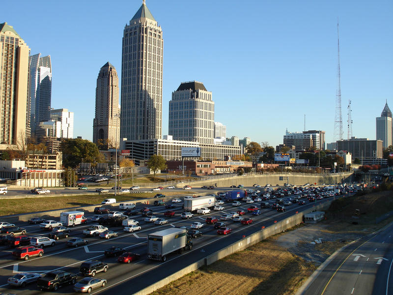 Rush hour traffic on Atlanta's downtown connector