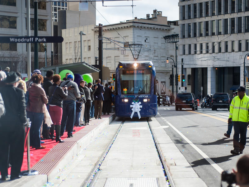 A crowd gathers downtown for the public opening of the Atlanta Streetcar on December 30, 2014