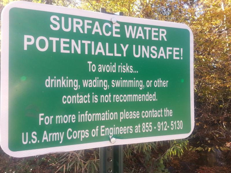 One of the signs placed near several streams close to Fort Gillem
