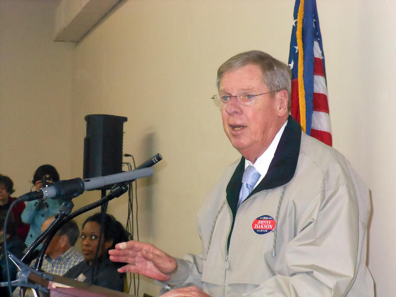 Sen. Johnny Isakson (R-Georgia), speaking to a breakfast meeting of Cobb County Republicans at the county GOP office in Marietta; Saturday, Jan. 10, 2014