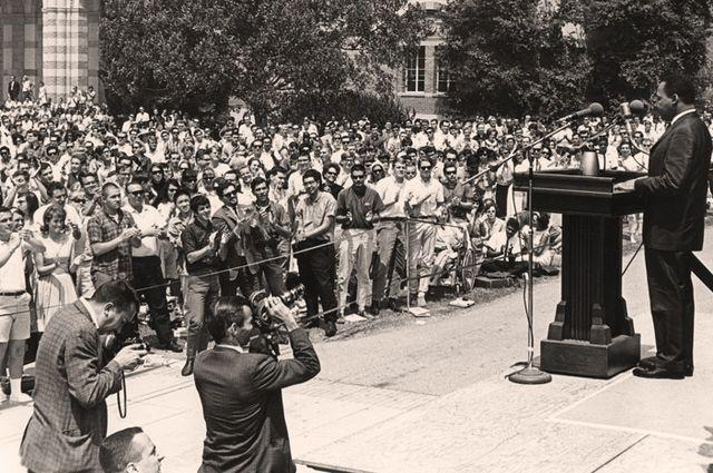 Martin Luther King, Jr. spoke at UCLA in April, 1965.