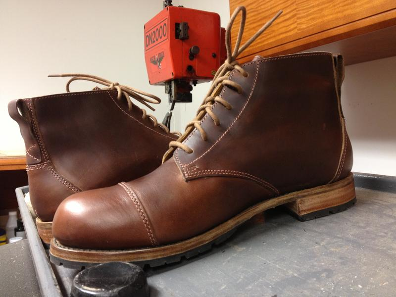 A completed pair of boots. Sarah Green says it takes her about 40 hours in a week to make three pairs.