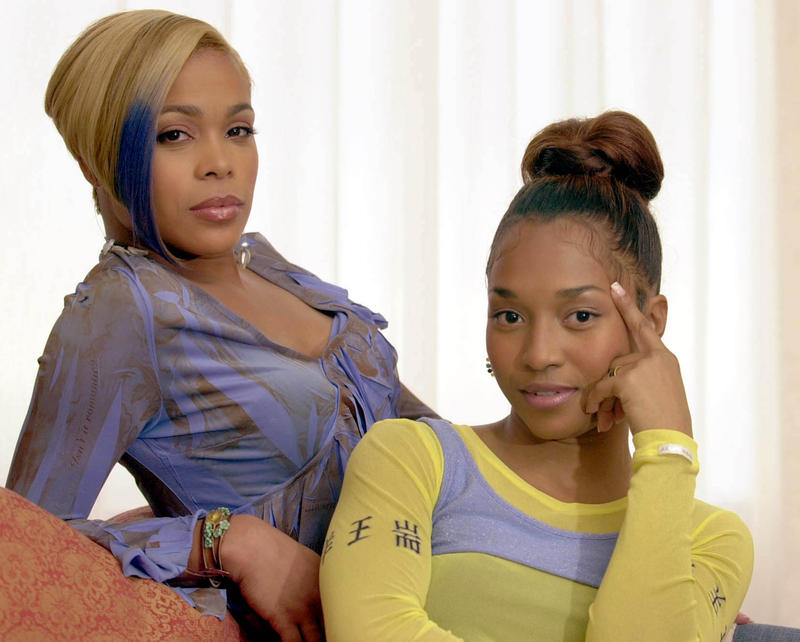 "TLC members Tionne ""T-Boz"" Watkins, left, and Rozanda ""Chilli"" Thomas pose in a file photo from Oct. 29, 2002, in Atlanta. Thomas and Watkins are looking to collaborate with a new voice, but the TLC stars insist they're not trying to replace the late Lis"
