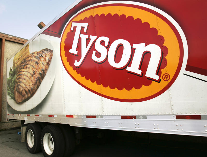 In this photo made Wednesday, Oct. 28, 2009, a Tyson Foods, Inc., truck is parked at a food warehouse in Little Rock, Ark.