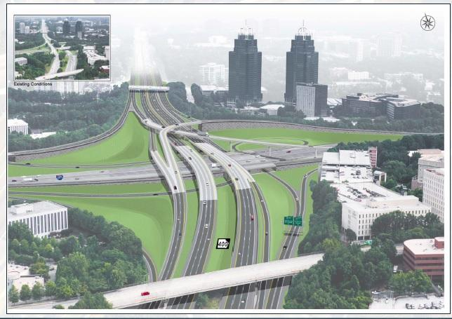 An artist rendering of changes coming to I-285/Ga. 400. Construction will begin in 2016 and wrap up in 2019. The project's cost: $1 billion.