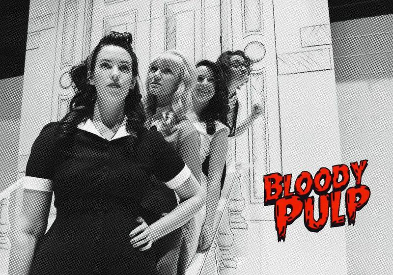 (L to R) Hanna Simms, Emily Parrish Stembridge, Ashton Nicole Montgomery, and Rachel Wansker in KSU's world premier production of Bloody Pulp.