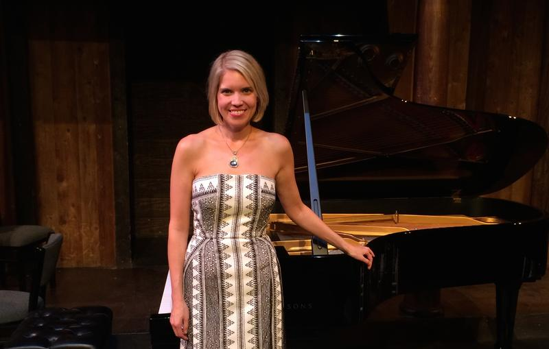 Elizabeth Pridgen, recently installed Artistic Director of the Atlanta Chamber Players, onstage at the Shakespeare Tavern in October 2014.