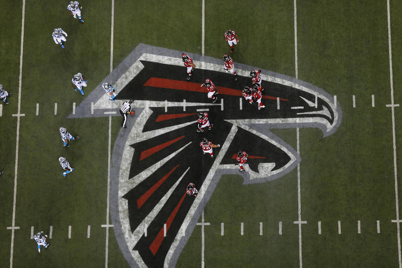 The Atlanta Falcons prepare to play the Carolina Panthers during the second half of an NFL football game, Sunday, Dec. 28, 2014, in Atlanta.