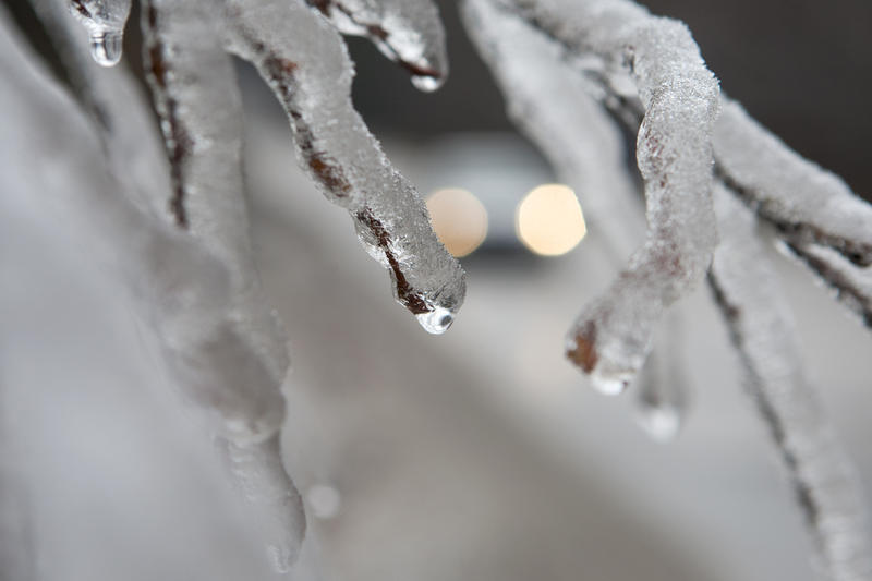 A car passes by on a road, seen through branches hanging heavy with ice after freezing rain blanketed the region near Bosnian capital of Sarajevo on Monday, Nov. 28, 2011. The last quarter of November was marked by foggy mornings and temperatures below fr