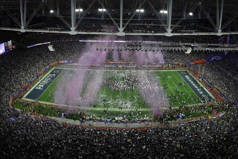 Fireworks are seen over the field at the end of the NFL Super Bowl XLIX football game between the Seattle Seahawks and the New England Patriots Feb. 1, 2015, in Glendale, Arizona. The Patriots won 28-24.