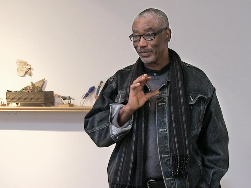Charlie Lucas during his artist talk at MINT Gallery in Atlanta, Feb. 21, 2015.