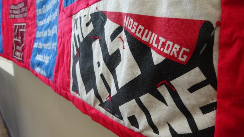 Jacque Muther commissioned a T-shirt quilt to commemorate her nearly three-decade career in AIDS advocacy. It's now on display at Atlanta's Ponce de Leon Center, part of the Grady Infectious Disease Program.
