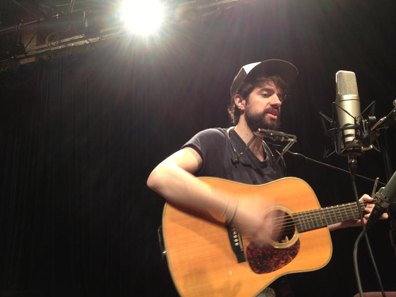 Anthony D'Amato performing songs from his album The Shipwreck from the Shore in WABE's Studio A.