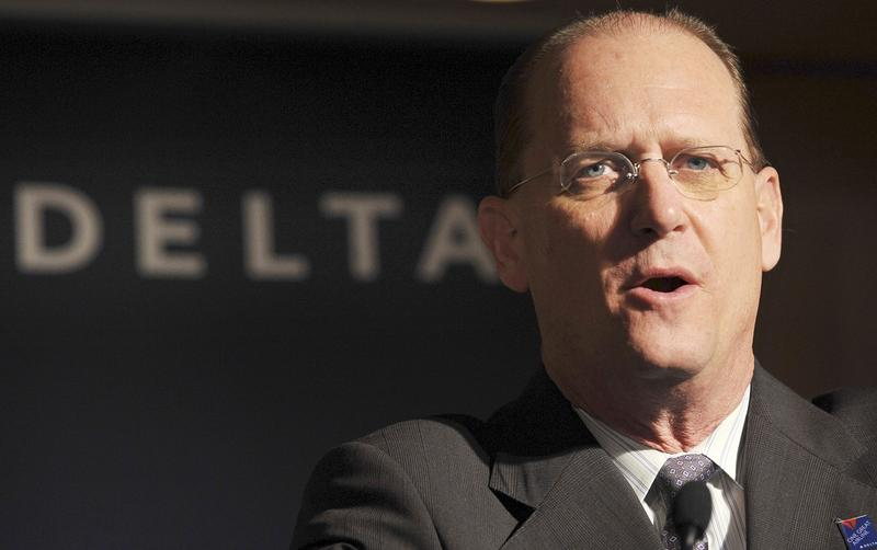 In this Jan. 15, 2009 file photo, Delta Air Lines Chief Executive Officer Richard Anderson speaks during a news conference at a hotel in Tokyo.
