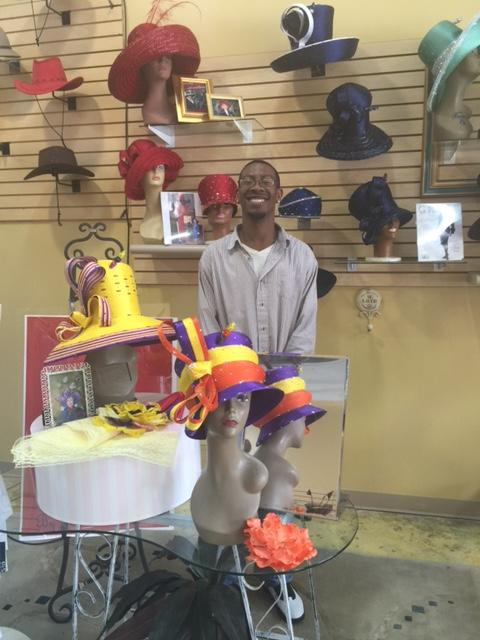 Julius Bass co-owns the Mad Hatter shop with his grandmother, Joyce Richardson.