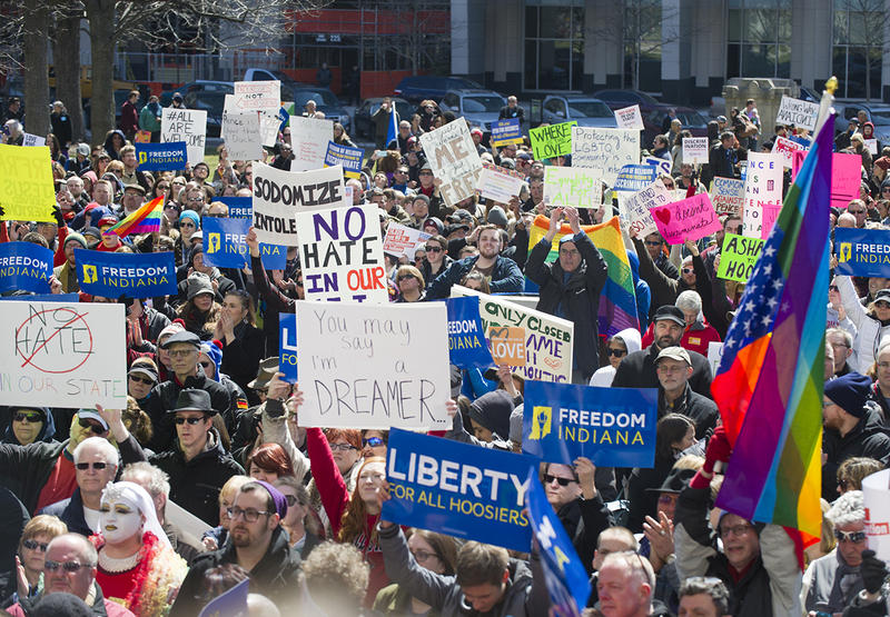 Thousands of opponents of Indiana Senate Bill 101, the Religious Freedom Restoration Act, gathered on the lawn of the Indiana State House to rally against that legislation.