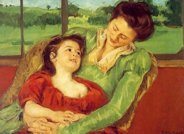 This is Mary Cassatt's 1902 painting ''Mère  et enfant.''