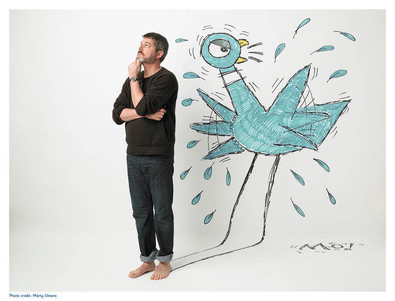 Author Mo Willems with his non-bus-driving pidgeon. Willems work will appear at the High Museum this May.