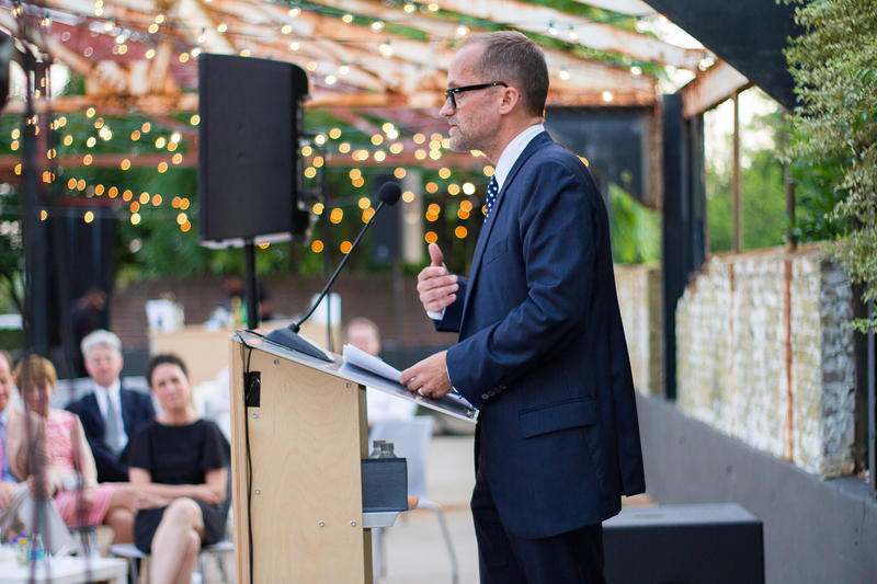 Michael Rooks accepts the Nexus Award in a ceremony at the Atlanta Contemporary Art Center in May 2015.
