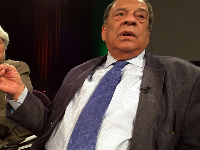 "Former U.N. Ambassador Andrew Young said Wednesday he's doing ""fine"" following a wreck on Monday. Young made the comments following an unrelated press conference"