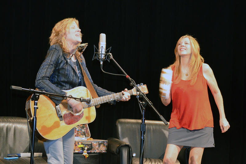 Michelle Malone (left) performs with Trish Land in the WABE studio.