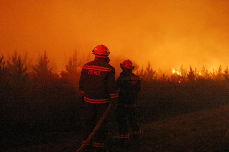 In this file photo, firefighters battle a wildfire April 18, 2007, near Waycross, Georgia.