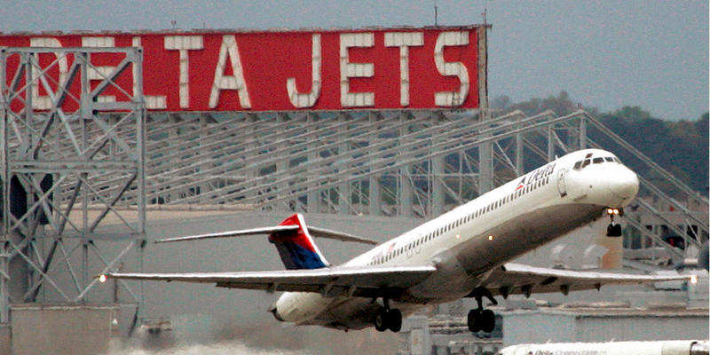 A Delta Airlines jet departs Hartsfield Jackson Atlanta International Airport in Atlanta.