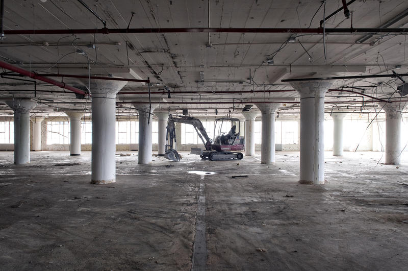 Demolition equipment looked tiny in the giant halls of the building that would become Ponce City Market.