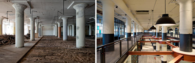 Then and now: Two floors of the space that became the dining hall