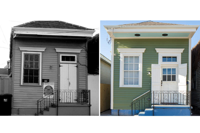 Before and After image of a house restored by Architects Eric Kronberg and Adam Wall in their award-winning Iberville Offsite Rehabilitation project.