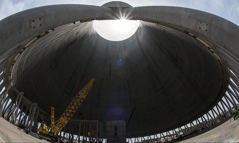An upward view inside the Vogtle Unit 3 cooling tower.