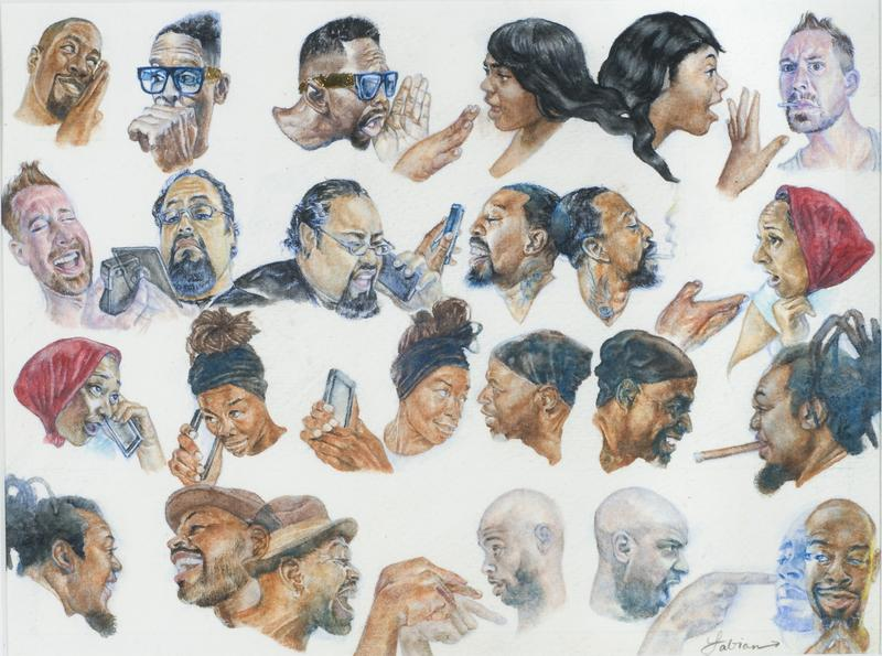 Fabian Williams (American, born 1975), Gossip, 2014, watercolor on paper, 8 × 10 inches. High Museum of Art, Atlanta, purchase with Antinori Fund, 2015.