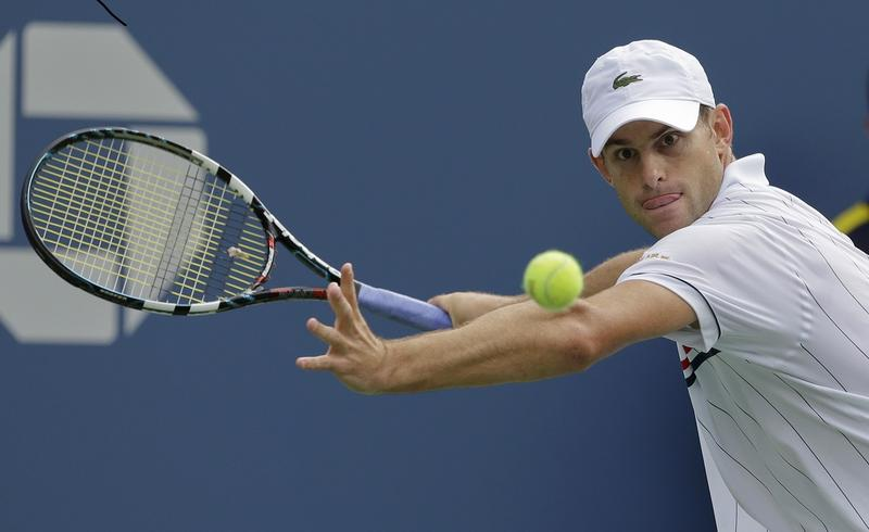 Andy Roddick eyes the ball during his match against Argentina's Juan Martin Del Potro in the quarterfinals during the 2012 US Open tennis tournament Sept. 5, 2012, in New York.