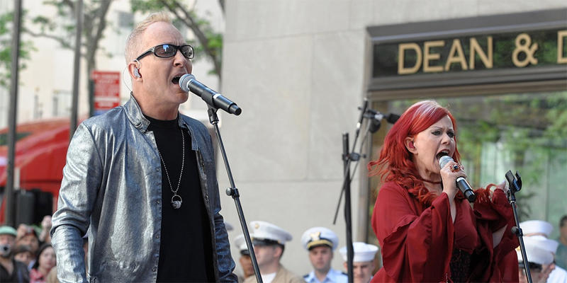 "Singers Fred Schneider and Kate Pierson of the music group ""The B-52s"" perform on NBC's ""Today Show"" in Rockefeller Plaza May 26, 2008, in New York."