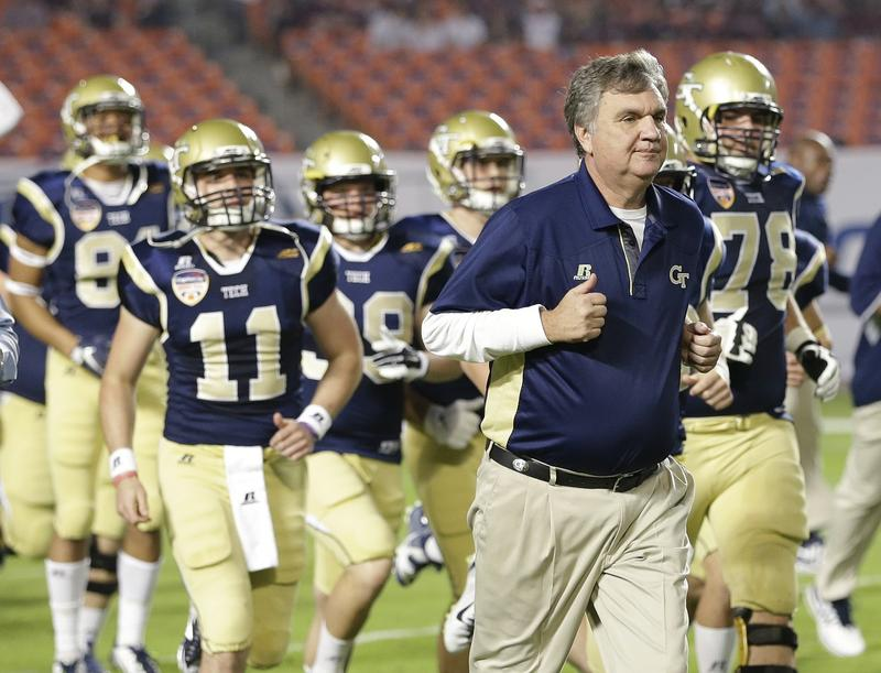 Georgia Tech head coach Paul Johnson takes to the field with the team before the start of the Orange Bowl NCAA college football game against Mississippi State, Wednesday, Dec. 31, 2014 in Miami Gardens, Fla.
