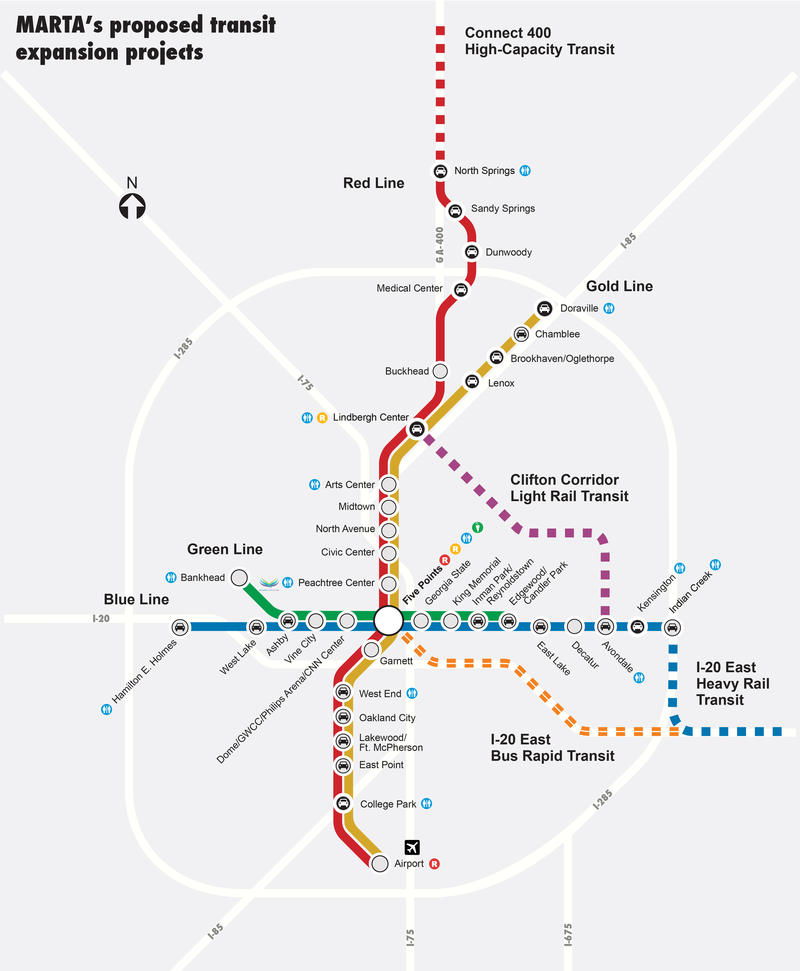 The dotted lines on the map represent the new proposed changes to the MARTA system.
