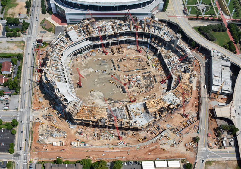 Aerial photograph of the new Falcons stadium construction in June 2015.