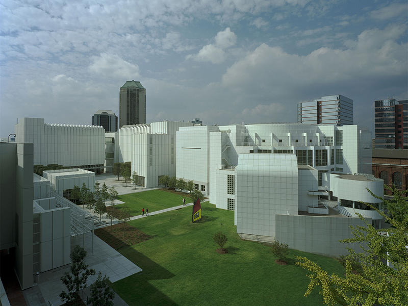 An aerial view of the complete campus. From left to right are the Memorial Arts Building, Table 1280, Anne Cox Chamber Wing, Wieland Pavilion and Stent Family Wing surrounding the new Sifly Piazza. ''House III'' by Roy Lichtenstein is in the foreground.