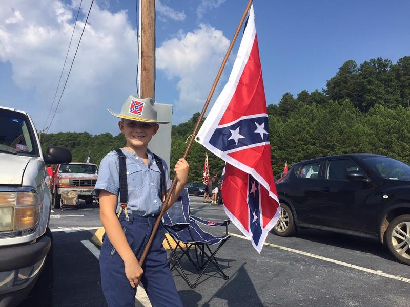 Jack Murlin, 9, of Druid Hills, Georgia, dressed up in Confederate garb for the rally at Stone Mountain Park last Saturday.