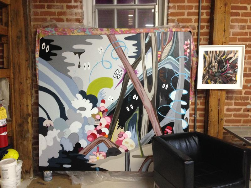 Inside Sarah Emerson's studio at Atlanta Contemporary, huge painted canvases lined every wall.