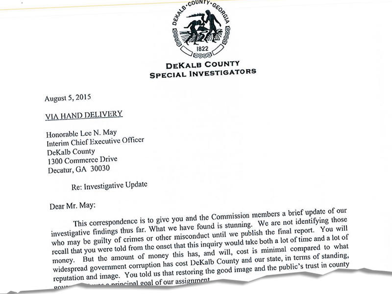 Cutout from a letter to interim DeKalb County CEO Lee May, former Georgia Attorney General Mike Bowers