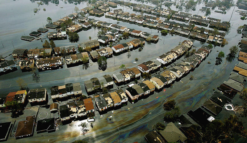 This is an aerial view of a flooded neighborhood on the east side of New Orleans, La., Thursday, Sept. 1, 2005 after Hurricane Katrina passed through the area last Monday morning.