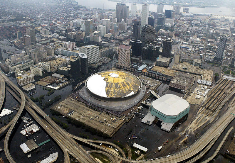 The Louisianna Superdome is surrounded by floodwaters from Hurricane Katrina Thursday, Sept. 1, 2005 in New Orleans.
