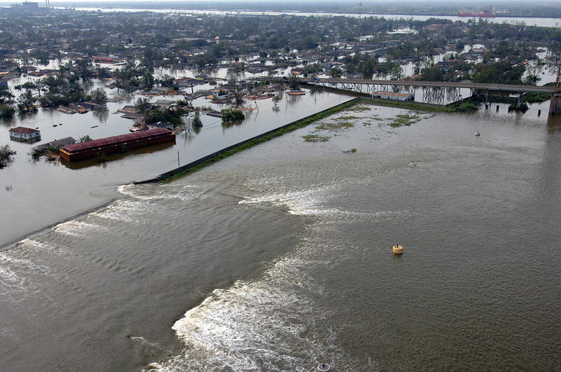 Aerial views of one of the damaged levees on August 30, 2005, the day after Hurricane Katrina hit New Orleans.